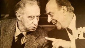 Piero Santi con Mario Luzi al ristorante La Beppa nel 1983